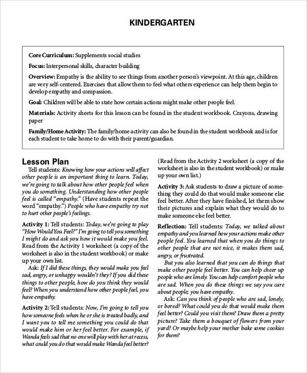 sample kindergarten lesson plan