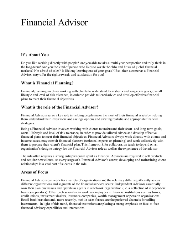 Sample Financial Advisor Job Description   Examples In Pdf Word