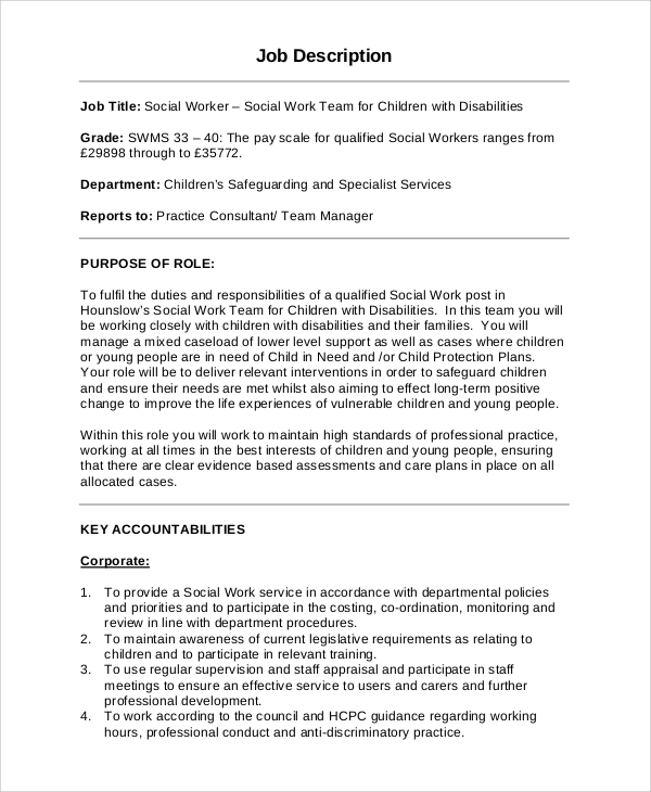 social worker job description samples