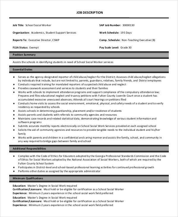 school social worker job description