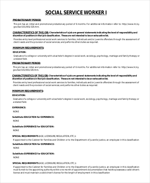 Sample Social Worker Job Description   Examples In Pdf Word