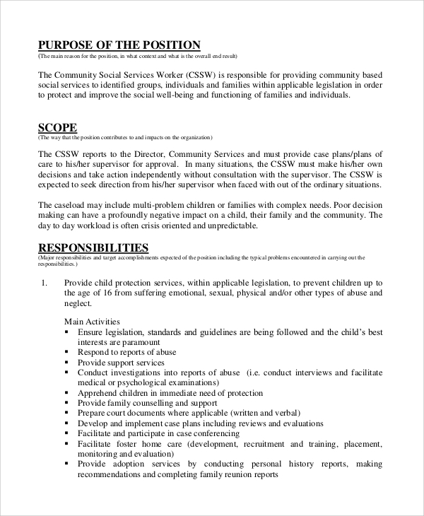 community social worker job description