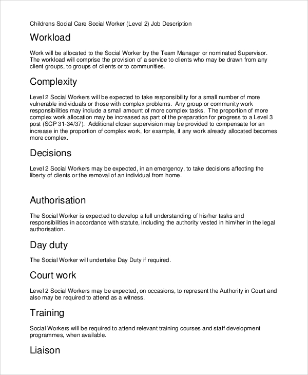 children social worker job description