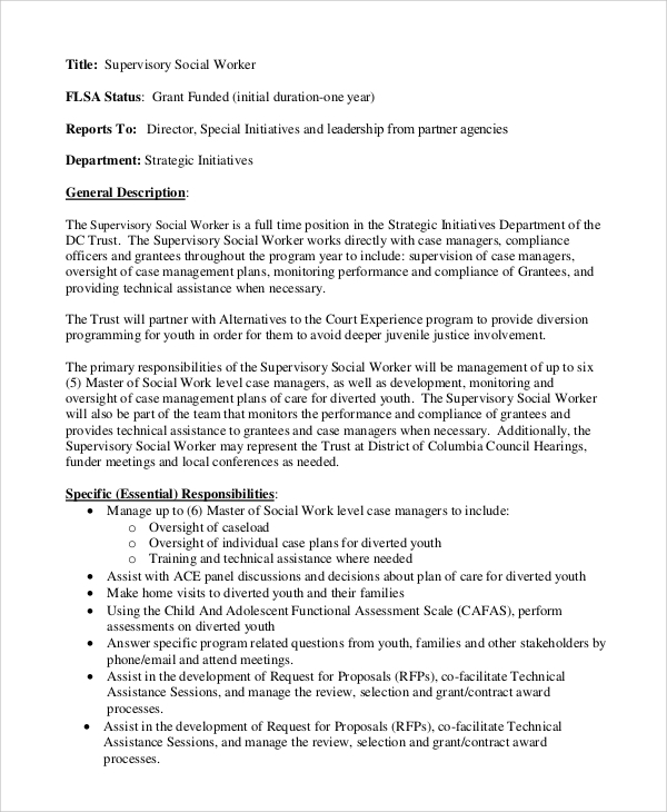 supervisory social worker job description