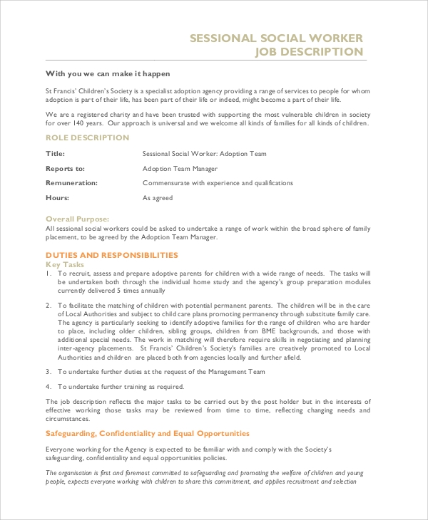 sessional social worker job description