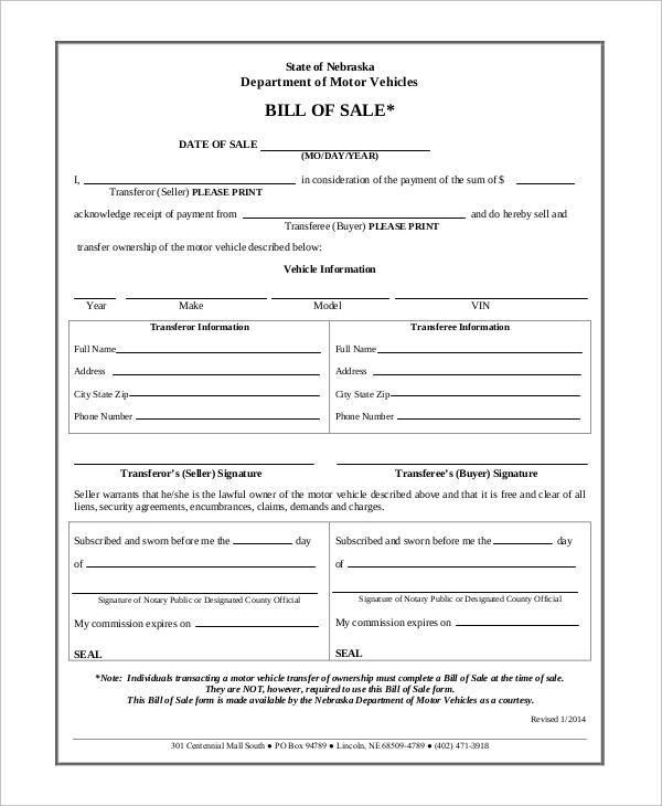 Sample Motor Vehicle Bill Of Sale   Examples In