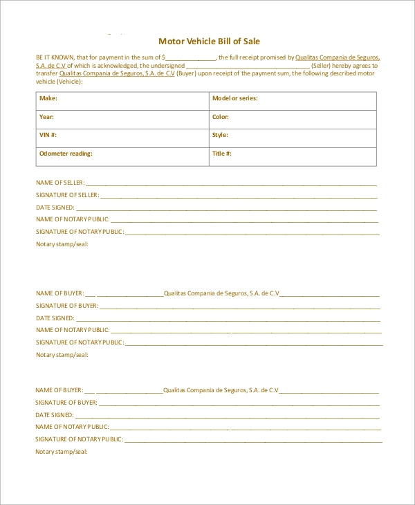 auto insurance motor vehicle bill of sale