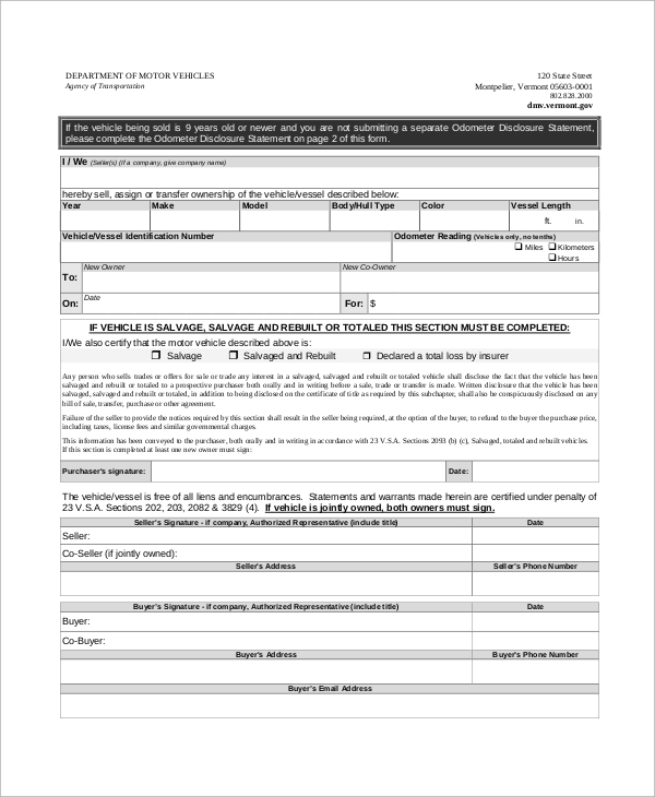 motor vehicle bill of sale and statement