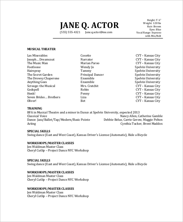 Sample Actor Resume 6 Examples in PDF – Sample Talent Resume