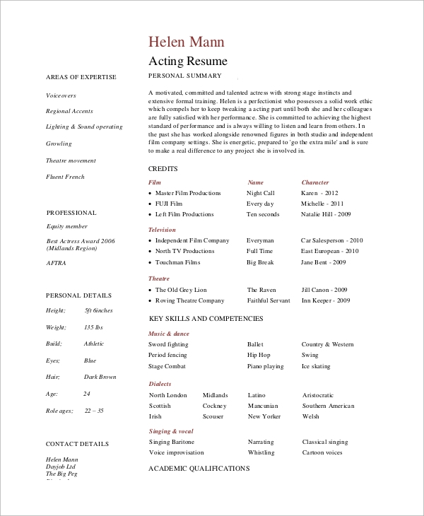 Sample Actor Resume   Examples In Pdf