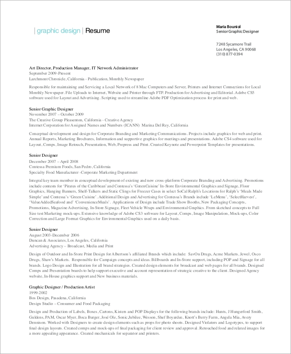 senior graphic designer resume - Graphics Production Artist Resume