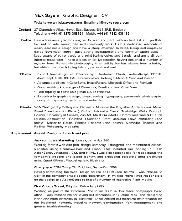 sle graphic designer resume 9 exles in word pdf