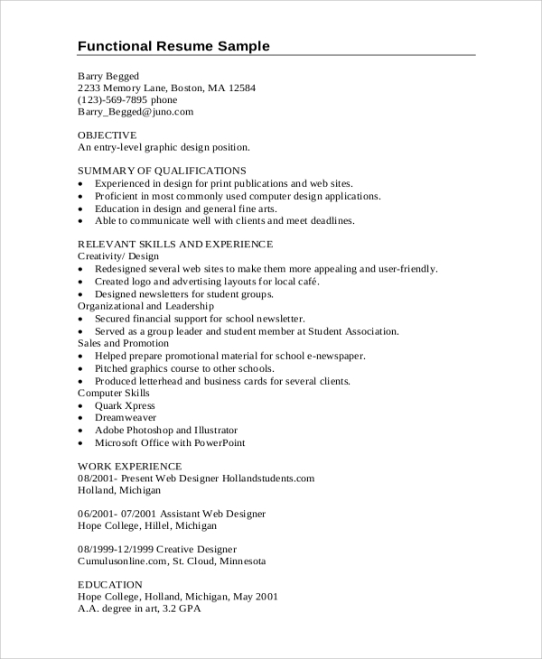 entry level graphic designer resume