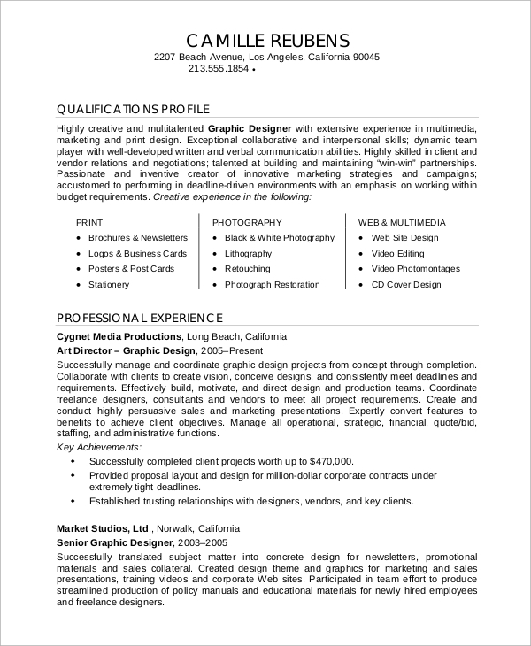 Sample Graphic Designer Resume - 9+ Examples In Word, Pdf