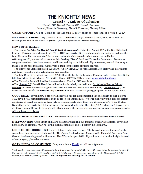 Newsletter Samples In Word - 10+ Examples In Word, Pdf