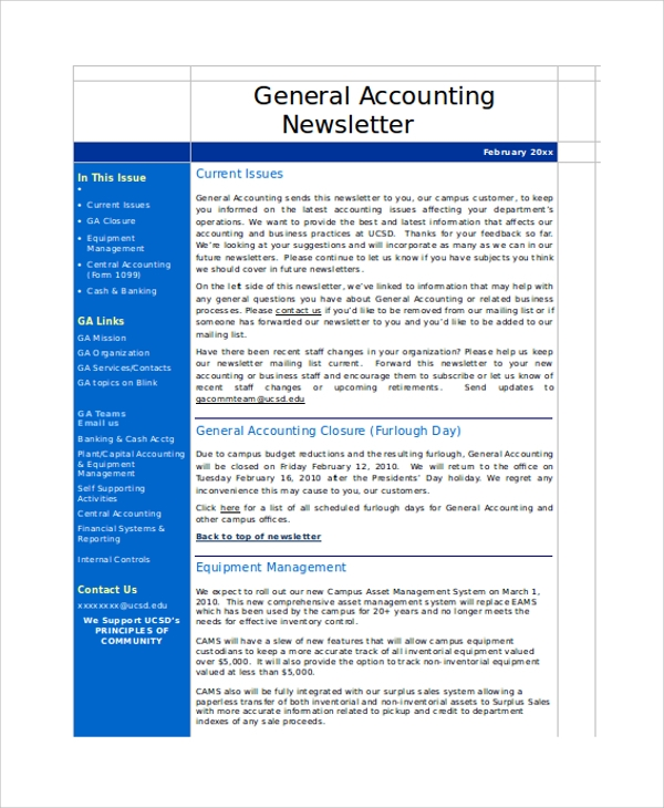 accounting newsletter sample word