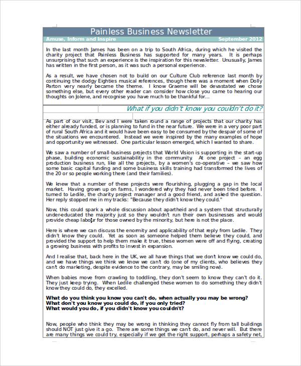 business newsletter sample word