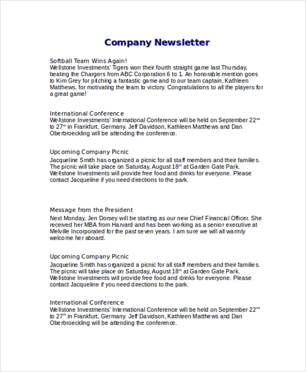 company newsletter sample word