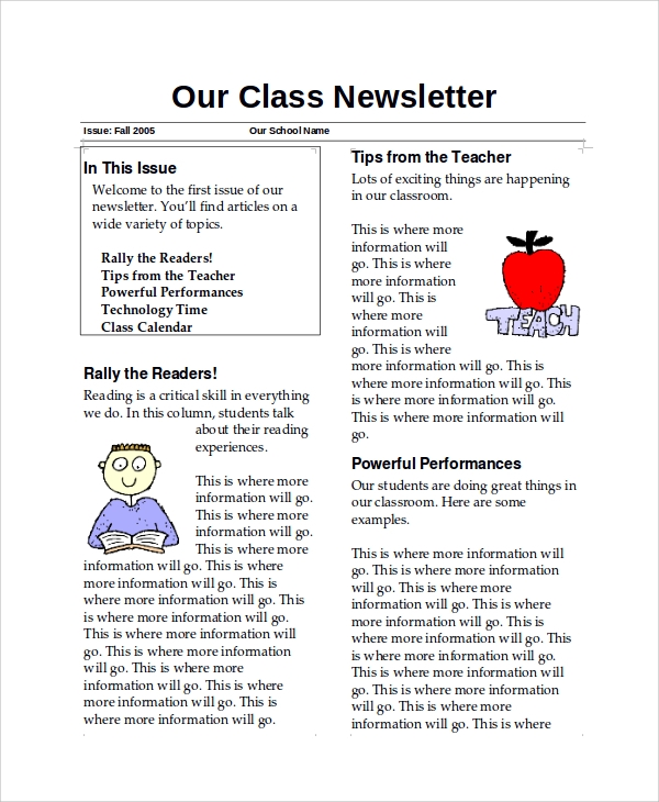 newsletter samples in word examples in word pdf