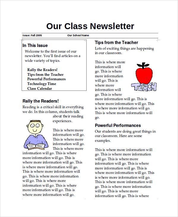 teacher newsletter sample word