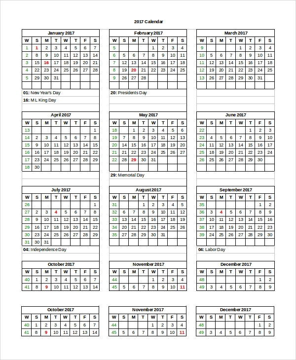 Word Calendar Sample   Examples In Pdf Word