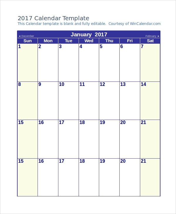 blank calendar sample word