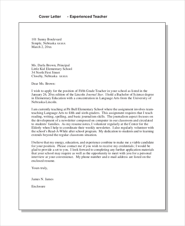elementary teaching cover letter