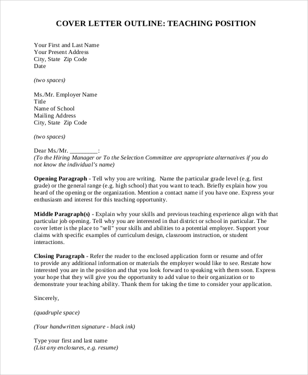 Cover-Letter-Outline-For-Teaching-Profession Sample Application Letter For Teaching Position on for housekeeping, for transfer, for school board, high school, teaching position, any position, college scholarship,