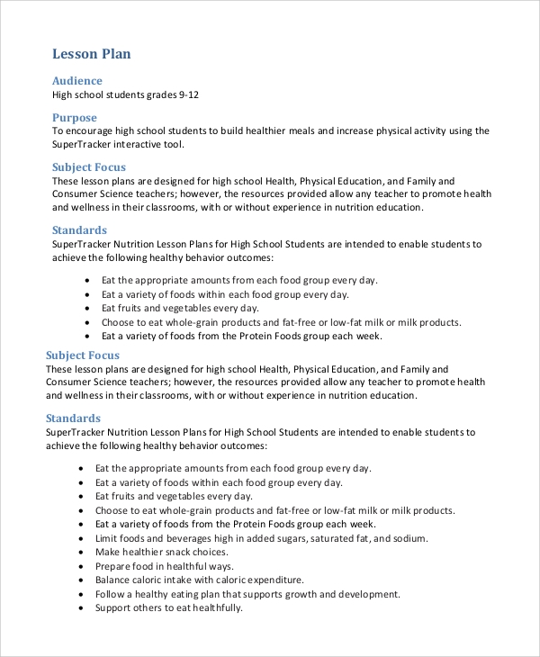 High School Lesson Plan Template High School Math Lesson Plan – Sample Physical Education Lesson Plan Template