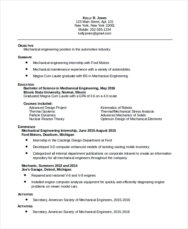 Sample Resume Format For Mechanical Engineer