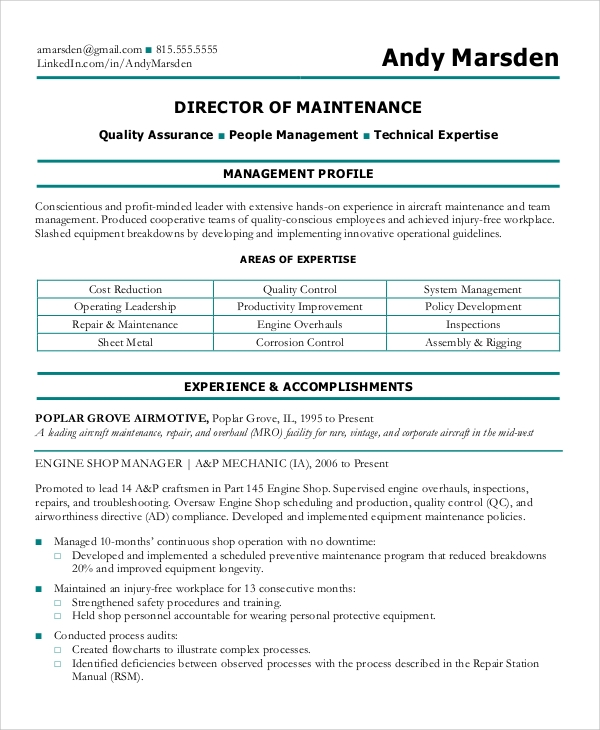 director of maintenance resume