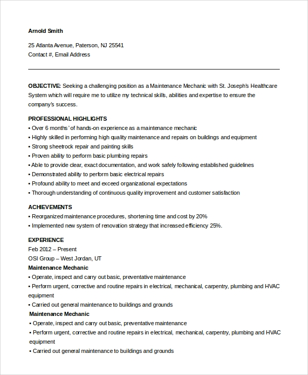 Maintenance Mechanic Resume