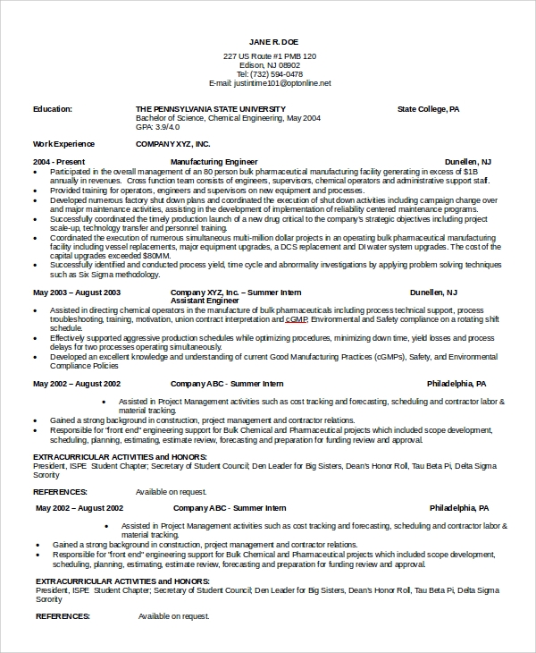 maintenance engineer resume