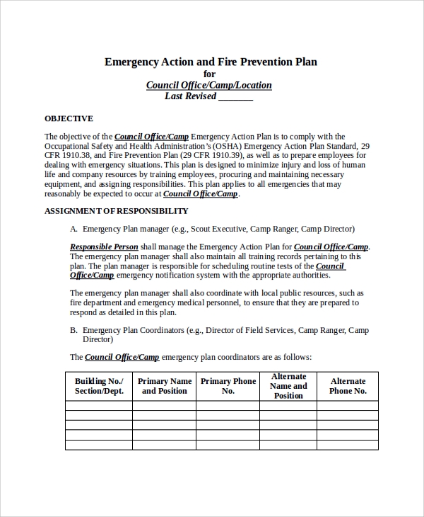 emergency action and fire prevention plan