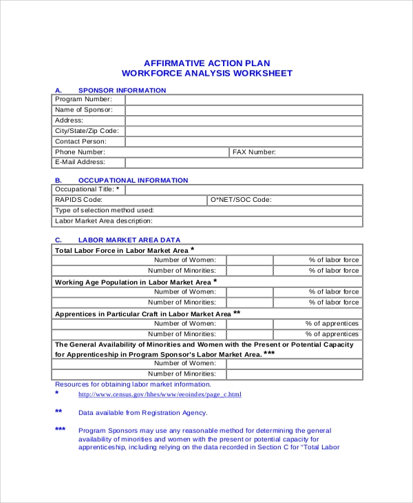 affirmative action plan workforce analysis worksheet