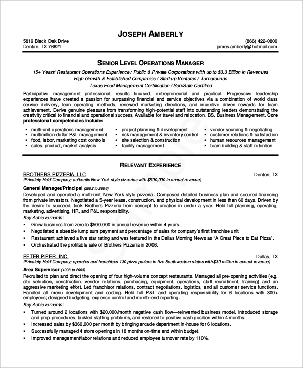 10 sample restaurant resumes sample templates for Resume templates for restaurant managers