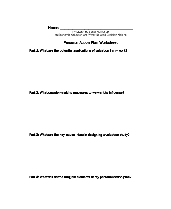 personal action plan worksheet