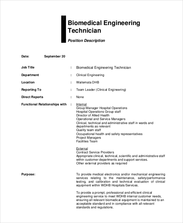 Sample Biomedical Engineering Job Description - 7+ Examples In