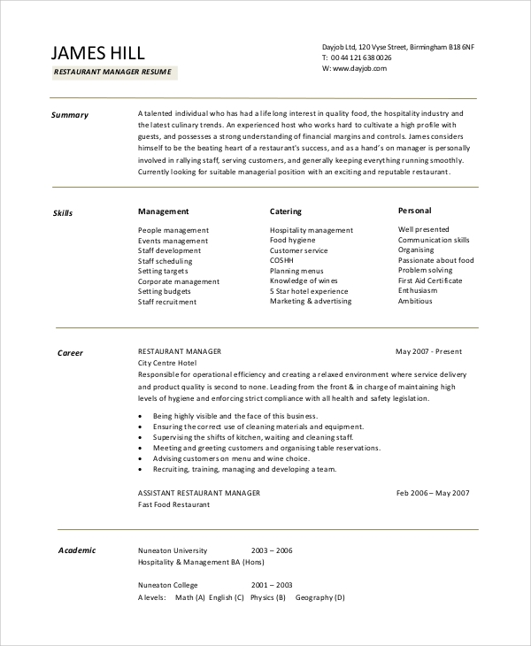 restaurant manager resume - Sample Restaurant Management Resume