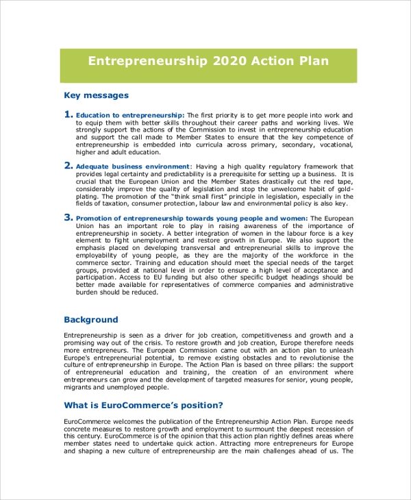 entrepreneurship 2020 action plan