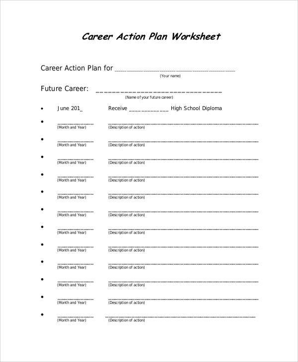 career action plan worksheet