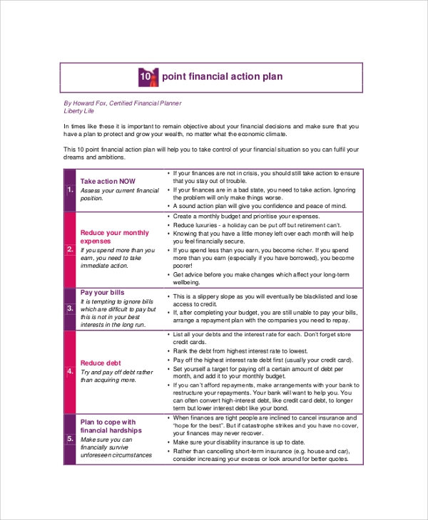 economic financial action plan
