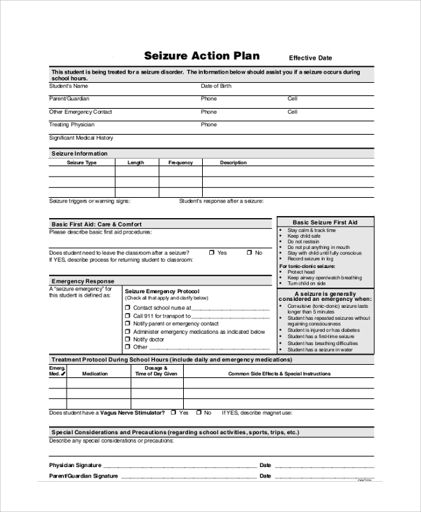 seizure action plan template 46 sample action plans sample templates