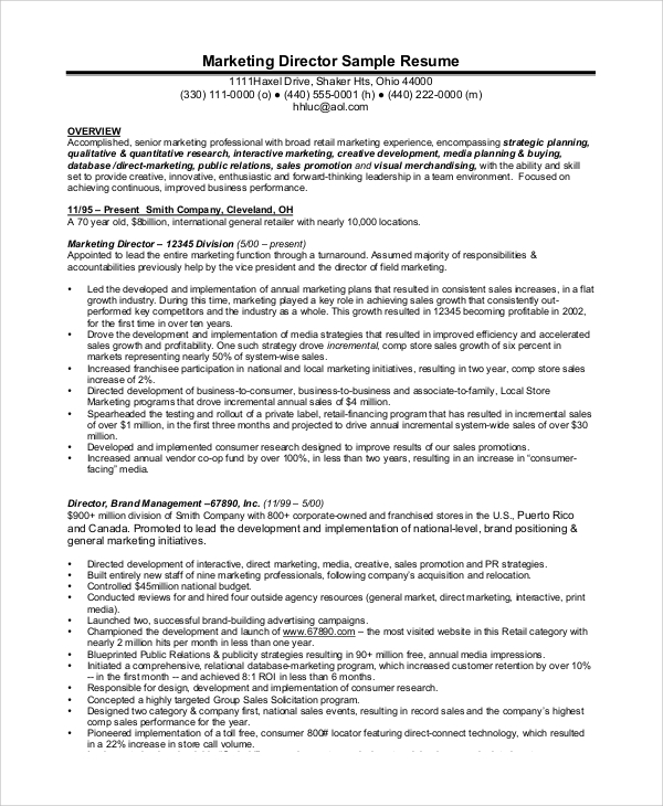 professional retail manager resume