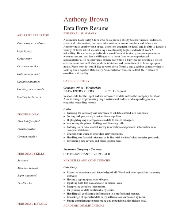 Data Entry Clerk Resume