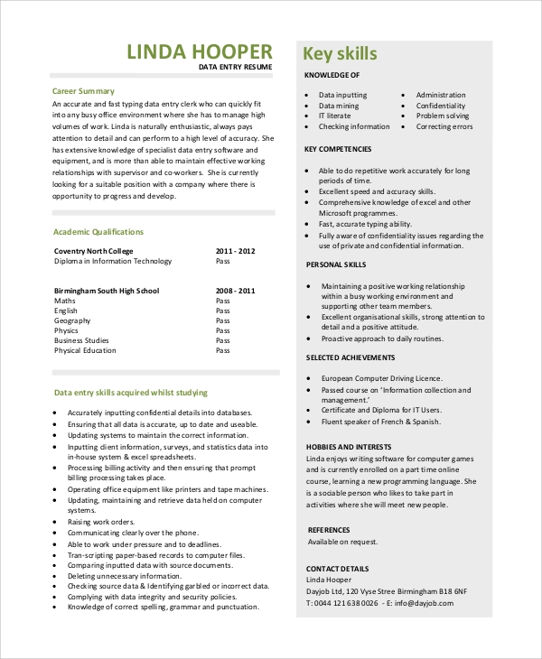 Data Entry Resume Examples  Data Entry Resume Example