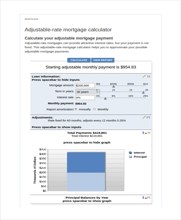 adjustable rate mortgage payment calculator