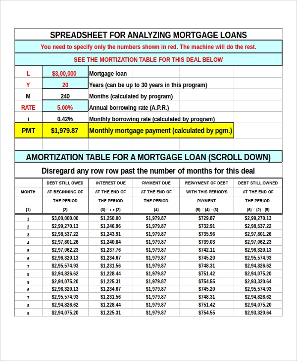 Sample Payment Calculator Mortgage   Example In  Excel