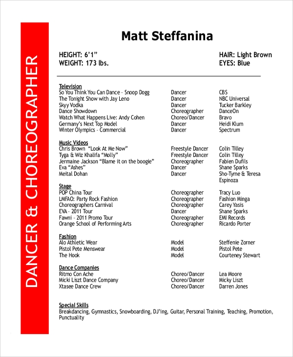 Free Style Dance Resume