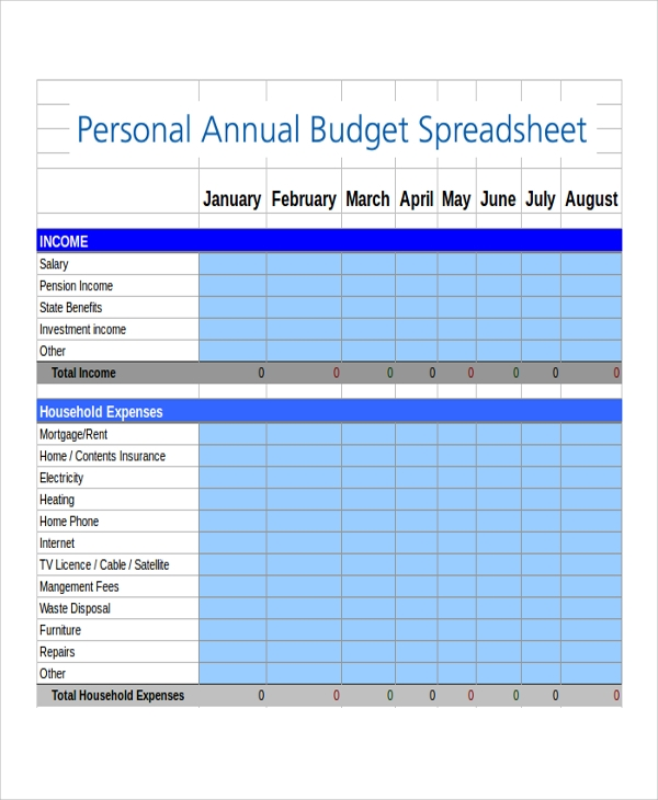 8 budget spreadsheet excel samples sample templates for Annual household budget template